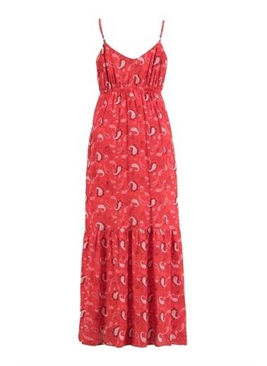Setre Kırmızı Şal Desen Askılı Elbise Kırmızı